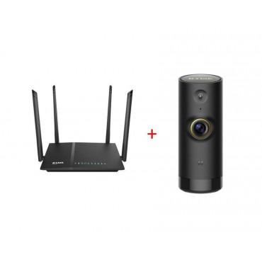 D-Link AC 1200 Wi-Fi Dual-Band Gigabit (LAN/WAN) Router + D-Link Mini HD Wi-Fi Camera
