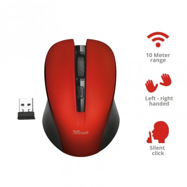 Мишка TRUST Mydo Silent Wireless Mouse RED, Red