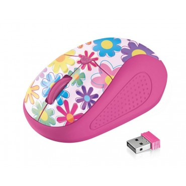 Мишка TRUST Primo Wireless Mouse - pink flowers, Pink flowers