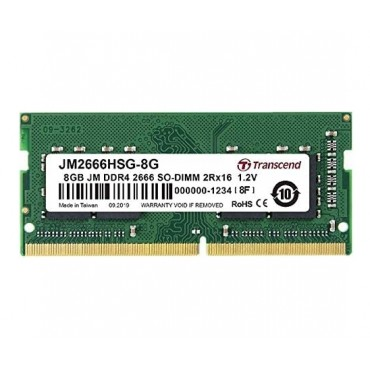 Transcend 8GB JM DDR4 2666Mhz SO-DIMM 1Rx16 1Gx16 CL19 1.2V