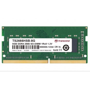 Transcend 8GB TS DDR4 2666Mhz SO-DIMM 1Rx8 1Gx8 CL19 1.2V